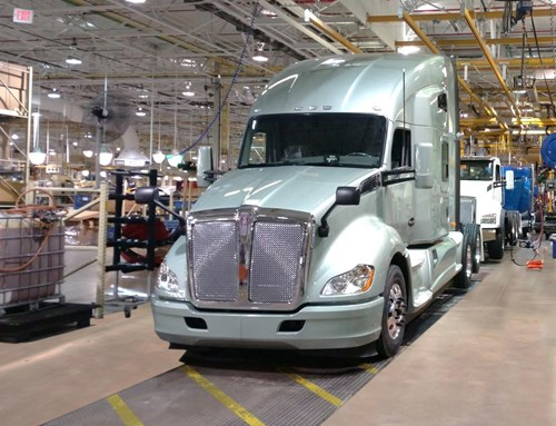 Kenworth T680 sleeper truck coming off the Chillicothe assembly line
