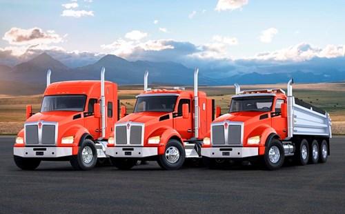 Kenworth T680 76-Inch Mid-Roof Sleeper, 52-Inch Regional Sleeper and Dump Truck