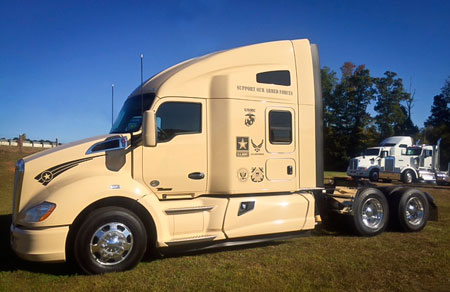 Kenworth T680 with military-themed decals from MHC Truck Leasing - Wilmington